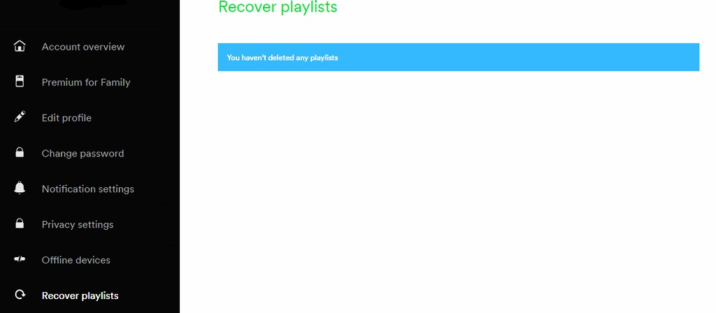 Can't find my deleted playlists on Recover Playlist option